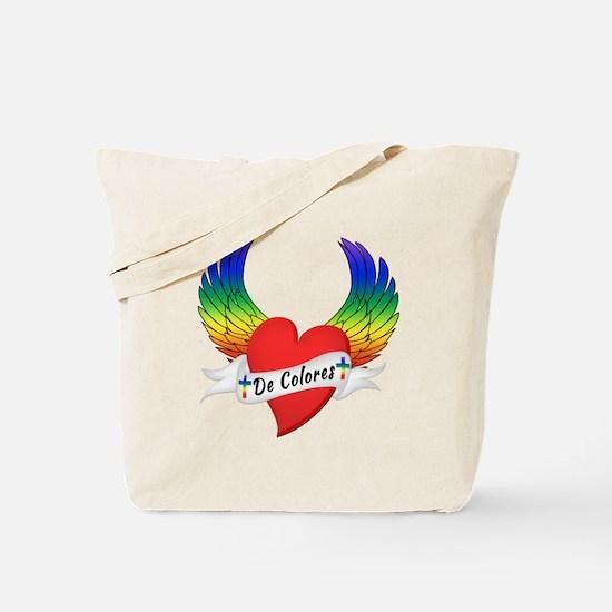 Winged Heart De Colores Tote Bag
