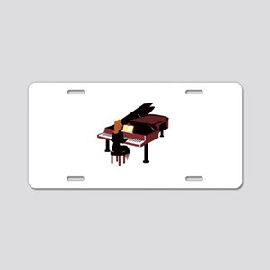 piano grand player brown Aluminum License Plate