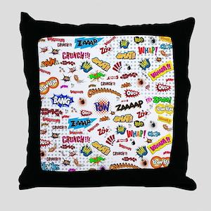 Comic Words Throw Pillow