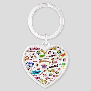 Comic Words Heart Keychain