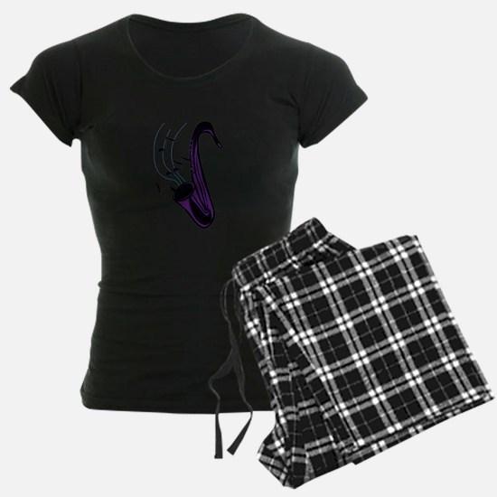 sax abstract saxophone w notes purple Pajamas