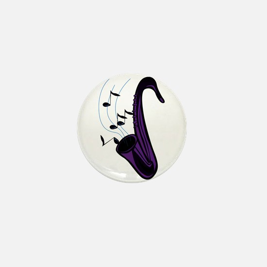 sax abstract saxophone w notes purple Mini Button