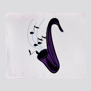 sax abstract saxophone w notes purple Throw Blanke