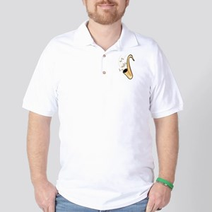sax abstract saxophone w notes Golf Shirt