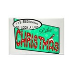 Retro Christmas Rectangle Magnet (100 pack)
