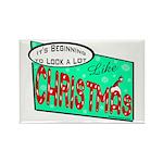 Retro Christmas Rectangle Magnet (10 pack)