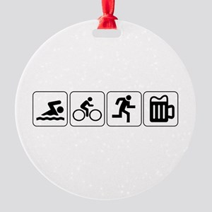 Swim Bike Run Drink Round Ornament