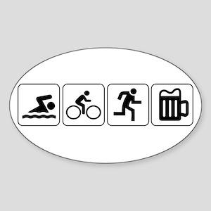 Swim Bike Run Drink Sticker (Oval)