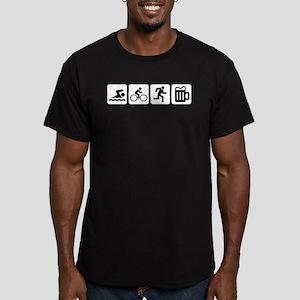 Swim Bike Run Drink Men's Fitted T-Shirt (dark)