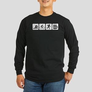 Swim Bike Run Drink Long Sleeve Dark T-Shirt
