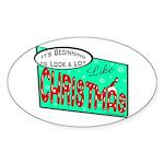 Retro Christmas Oval Sticker