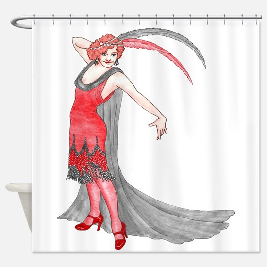 Scarlet Flapper Shower Curtain