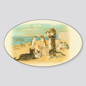 Cute Vintage Cats on the Beach Sticker