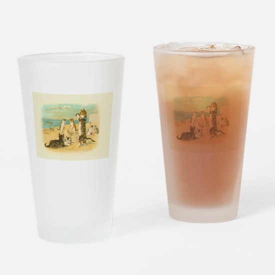 Cute Vintage Cats on the Beach Drinking Glass