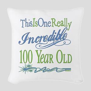 IncredibleGreen100 copy Woven Throw Pillow