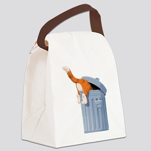 Cat in Trash Can Canvas Lunch Bag