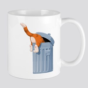 Cat in Trash Can Mugs