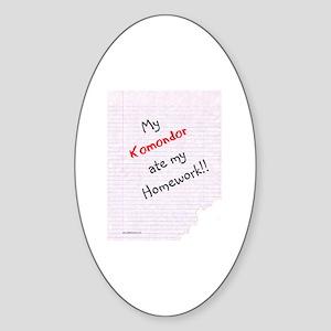 Komondor Homework Oval Sticker