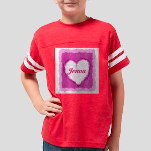 Jenna Watercolor Heart Youth Football Shirt