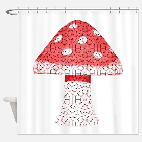 Red Mushroom Art Shower Curtain