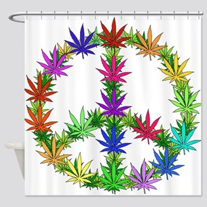 Rainbow Peace Marijuana Leaf Art Shower Curtain