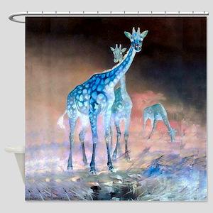 Blue Giraffes Shower Curtain