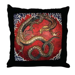 Hokusai Red Water Dragon - Throw Pillow