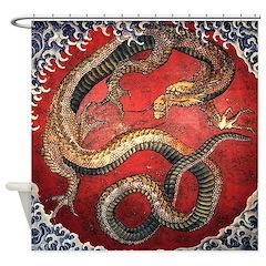 Hokusai Red Water Dragon - Shower Curtain