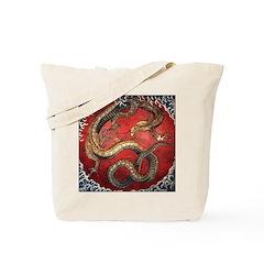 Hokusai Red Water Dragon - Tote Bag