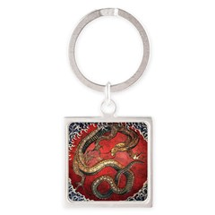Hokusai Red Water Dragon - Square Keychain