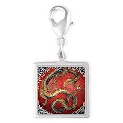 Hokusai Red Water Dragon - Silver Square Charm