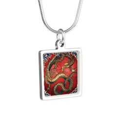 Hokusai Red Water Dragon - Silver Square Necklace
