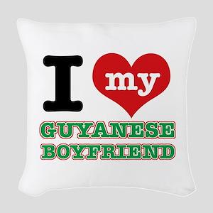 I love my Guyanese Boyfriend Woven Throw Pillow