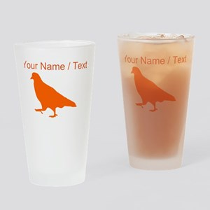 Custom Orange Pigeon Silhouette Drinking Glass