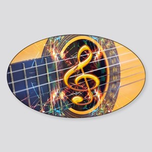 Acoustic Guitar Explosion of Music Sticker (Oval)