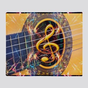 Acoustic Guitar Explosion of Music Throw Blanket