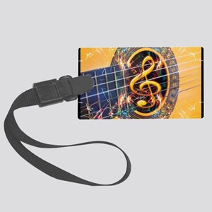 Acoustic Guitar Explosion of Mus Large Luggage Tag