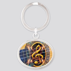 Acoustic Guitar Explosion of Music Oval Keychain