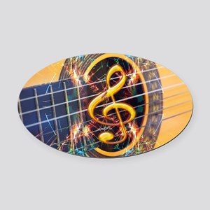Acoustic Guitar Explosion of Music Oval Car Magnet