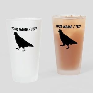 Custom Black Pigeon Silhouette Drinking Glass