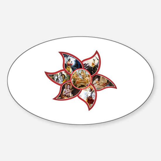 Unique Hindu krishna Sticker (Oval)