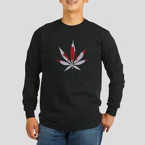 Pot leaf Canadian Flag Long Sleeve Dark T-Shirt