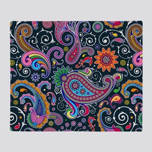 Colorful Paisley Pattern Throw Blanket