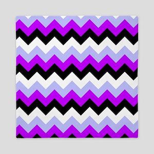 Purple And Black Chevron Pattern Queen Duvet