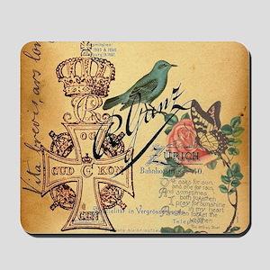 paris jubilee cross vintage rose bird bu Mousepad
