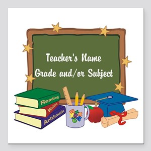 "Custom Teacher Square Car Magnet 3"" x 3"""