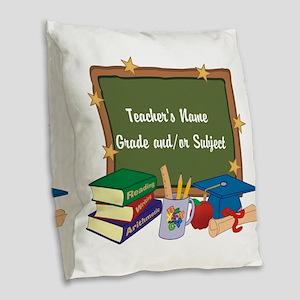 Custom Teacher Burlap Throw Pillow
