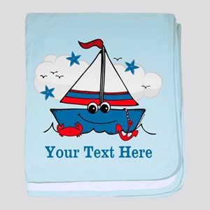 Cute Little Sailboat Personalized baby blanket