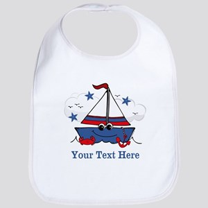 Cute Little Sailboat Personalized Bib