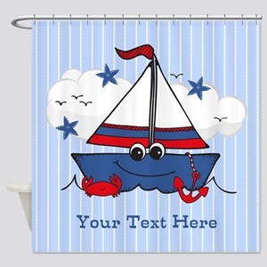 Cute Little Sailboat Personalized Shower Curtain